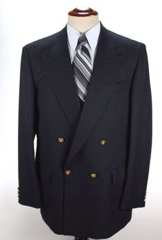 St Michael Blazer Sport Coat 42 L Double Breasted Navy Gold Btn made in Israel #StMichael #DoubleBreasted