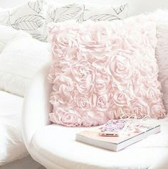 <3 in a different color...maybe charcoal Shabby Chic Pillows, Pink Throw Pillows, Bed Pillows, Pink Throws, Pillow Room, Soft Pillows, Pale Pink Bedrooms, Blush Pink Bedroom, Pastel Roses