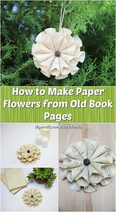Wie man Papierblumen aus alten Buchseiten macht How to make paper flowers from old book pages, if you are looking for a creative and easy way to make DIY vintage paper flowers, you should check out this new video tutorial …, Paper Flower Ball, Paper Flower Wreaths, How To Make Paper Flowers, Paper Flowers Diy, Old Book Crafts, Book Page Crafts, Diy Vintage, Look Vintage, Vintage Paper