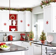 kitchen christmas decoration in scandinavian style decorative christmas trees. Luv red backed shelves