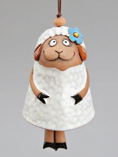 Ceramic Sheep Bell The White Sheep with Blue Flower by Molinukas, €6.00
