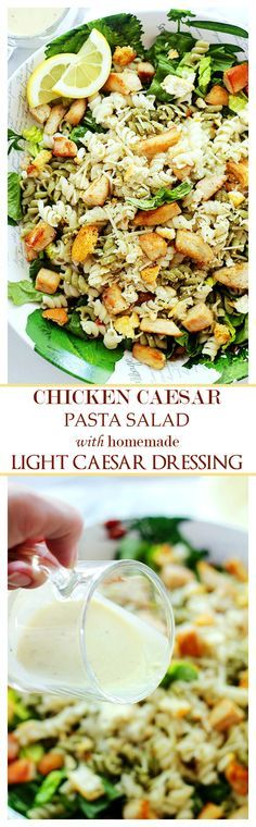 {Italy} Chicken Caesar Pasta Salad with Light Caesar Dressing: Pasta and salad greens tossed with grilled chicken and a delicious, homemade Light Caesar Dressing.