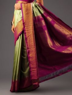 Green-Maroon Kanchipuram Silk Saree