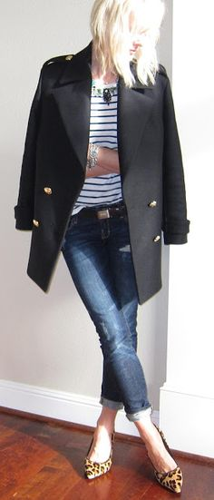 Pea coat, stripes and denim-absolutely my style! And love the leopard print shoes!