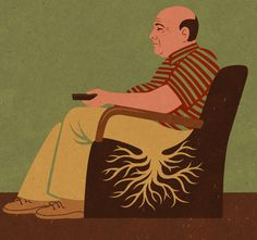 By John Holcroft editorial and conceptual Illustrator. This one is about lethargy in middle age. The older we get the more lethargic and less motivated we become if we choose to vegetate in front of the TV.