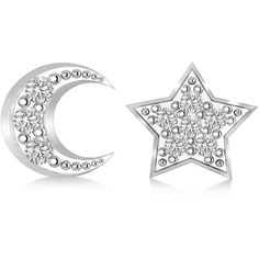 Allurez Moon & Star Diamond Mismatched Earrings 14k White Gold... (1,485 PEN) ❤ liked on Polyvore featuring jewelry, earrings, earring jewelry, 14 karat gold earrings, white gold earrings, round earrings and star jewelry