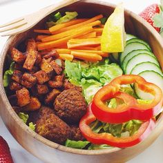 Today's lunch  Salad with spicy sweet potato, spicy falafels and guacamole  Instagram: amillionmiless