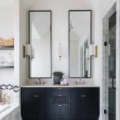 55 modern farmhouse master bathroom renovation ideas the process & reveal 34 Bathroom Vanity Designs, Bathroom Interior Design, Bathroom Ideas, Zen Bathroom, Neutral Bathroom, Bathroom Black, Vanity Decor, Bathroom Trends, Bathroom Mirrors