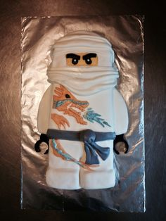 Ninjago Zane cake with vanilla fondant.       N's 7th Birthday cake.