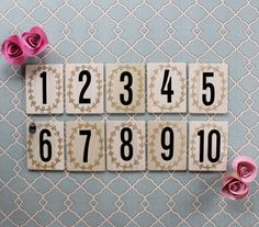 ADORABLE Gold Laurel Wreath Wedding Table Numbers via Etsy