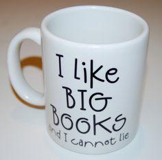 i like big books coffee mug. $13.95, via Etsy.