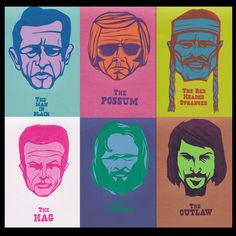 Outlaw Country Six-Pack portrait prints. $70.00, via Etsy. - Had to get this for my dining room