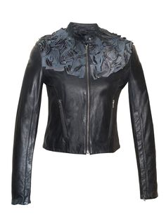 Hand Crafted Leather 3D Floral Designer Women Jacket by aarna101 on Etsy