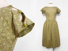 Olive Green Floral 1940s 1950s Day Dress with by FancyThatVintage, $145.00