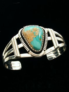 Native American Hand Crafted Sterling Silver Turquoise Bracelet