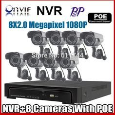 Free shipping 1080P 2.0MP POE IP Camera Outdoor Waterproof Infrared P2P Onvif Network CCTV Camera  8ch POE NVR KIT