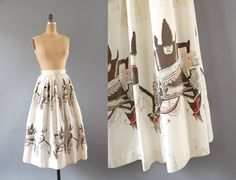 1950s Skirt / Cowboys Cotton Skirt / 50s by wildfellhallvintage