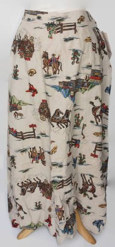 New Frontier Clothing Womens Western Horses Large Skirt Tan New Sz L #NewFrontier #Long