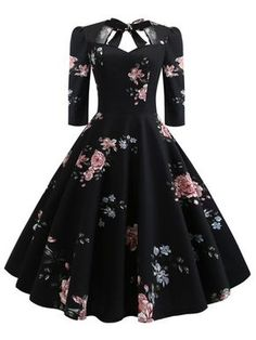 Floral Print Knot Dress - Outfits - Welcome Haar Design Elegant Dresses, Pretty Dresses, Vintage Dresses, Beautiful Dresses, Casual Dresses, Formal Dresses, Wedding Dresses, Casual Outfits, Awesome Dresses