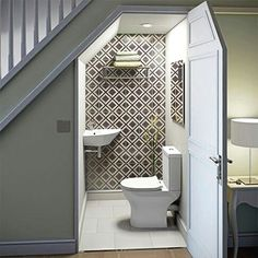 decoration: Bathroom Under Stairs Idea More Sink Over. Bathroom Under Stairs Bathroom Under Stairs, Toilet Under Stairs, Down Stairs Toilet Ideas, Small Basements, Basement Bedrooms, Basement Stairs, Loft Stairs, House Stairs, Basement Band