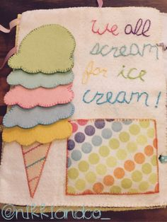Ice cream quiet book page. Tips and link to template.