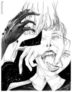 "kikkujo: ""no solace "" Arte Horror, Horror Art, Dark Art Drawings, Matou, Art Et Illustration, Creepy Art, Art Sketchbook, Aesthetic Art, Manga Art"