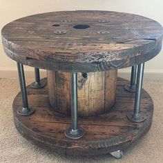 cable spool tables Reclaimed Wood Spool Coffee Table by Rustoregon on Etsy Industrial Design Furniture, Pipe Furniture, Industrial Interiors, Rustic Furniture, Furniture Design, Industrial Bathroom, Industrial Pipe, Table Furniture, Outdoor Furniture