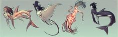 """Merpeople by moni158.deviantart.com on @deviantART """"From left to right the animals are Tiger shark, Mantaray, Humboldt squid and Orca"""""""