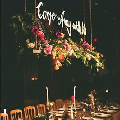 hanging centerpiece over head table