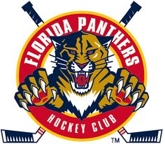 Florida Panthers Alternate Logo (2000) - A panther leaping through a red circle with crossed hockey sticks