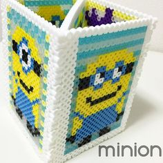 Minion pencil holder perler beads by ah.4ever