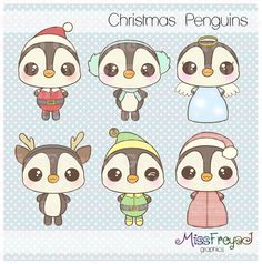 Christmas Penguins - Chibi & Kawaii - Digital Clip Art for Personal and Commercial Use via Etsy