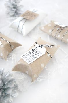 DIY Gift Boxes //  No scissors, glue, or tools required // Made out of toiled paper rolls (or paper towel rolls)! FREE PRINTABLE TAGS!