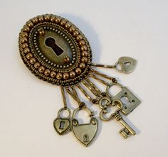 Lock and Key Steampunk Bead Embroidered Brooch by beadn4fun, $35.00