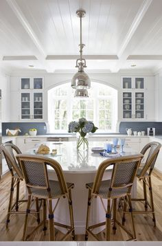 Antique American Hickory | Backsplash is from Waterworks.