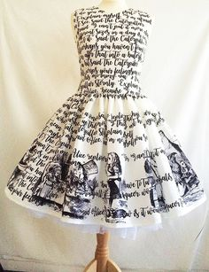 Alice In Wonderland Dress, Literature dress, Book Dress, Writing Dress, Uk, Rooby Lane by RoobyLane on Etsy https://www.etsy.com/listing/496498477/alice-in-wonderland-dress-literature I Dress, Unique Dresses, Pretty Dresses, Beautiful Dresses, Short Dresses, Prom Dresses, Formal Dresses, Alice In Wonderland Outfit, Special Occasion Dresses