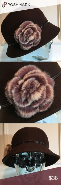 Fur Accent Wool Hat Brown 100% wool hat with fur flower accent. Pre-owned in excellent condition (maybe worn once) August Hats Accessories Hats
