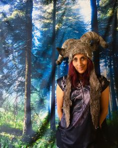 Goat Boy, Capricorn headwear for theatre, festivals and pagan ceremonies!!! Animal Hats, Felt Animals, Headdress, Capricorn, Pagan, Wearable Art, Goat, Festivals, Trending Outfits