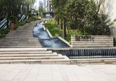 logo景观 Landscape Stairs, Green Landscape, Landscape Photos, Landscape Design, Modern Water Feature, Water Architecture, Public Space Design, Pond Water Features, Waterfall Fountain