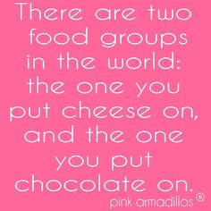 So true! two food groups, stuff you put cheese on and stuff you put chocolate on! #chocolate #cheese #foodie #funny #foodhumor #pinkarmadillos