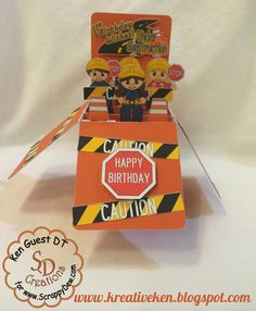 Ken's Kreations : CARD IN A BOX - CONSTRUCTION BIRTHDAY Digger Birthday Parties, Baby Birthday Card, Birthday Cards For Boys, Birthday Box, Digger Party, Birthday Ideas, Pop Up Box Cards, 3d Cards, Folded Cards