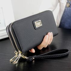 Women Leather Wallet 2017 Summer Long Double Zipper Lady Card Holder Coin Purse Female Phone Bag Clutch Wallets Monedero Mujer