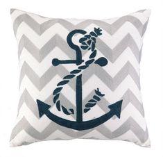 Anchor Chevron Embroidered Pillow