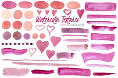 Watercolor Clip Art - Pink by Maria B. Paints on Creative Market
