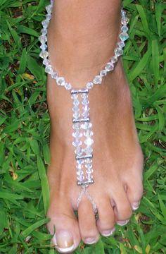 Toe Thong Foot Thong Barefoot Sandal Beach Wedding Feet Jewelry Anklet. $17.00, via Etsy.