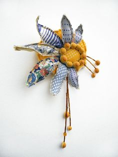 fairy flower brooch, vintage upcycled silk, vintage scraps and polymer clay, blue yellow.