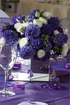 Purple flowers table center piece