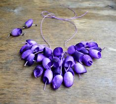 necklace silk cocoon earrings lilac necklace by batikelena on Etsy