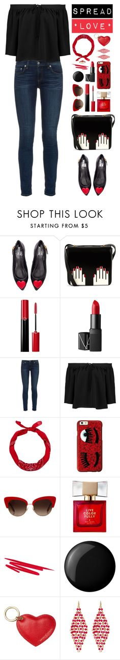 """❤️ Spread Love ❤️"" by ealkhaldi ❤ liked on Polyvore featuring Love Moschino, Lulu Guinness, Giorgio Armani, NARS Cosmetics, rag & bone, Elizabeth and James, New Look, Chiara Ferragni, Dolce&Gabbana and Kate Spade"