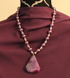 "Purple and Gold - Color me Bold pendant necklace.  12"" L."